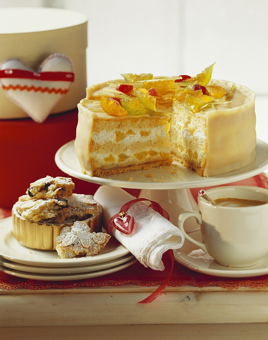 Orange marzipan cake and stollen pieces