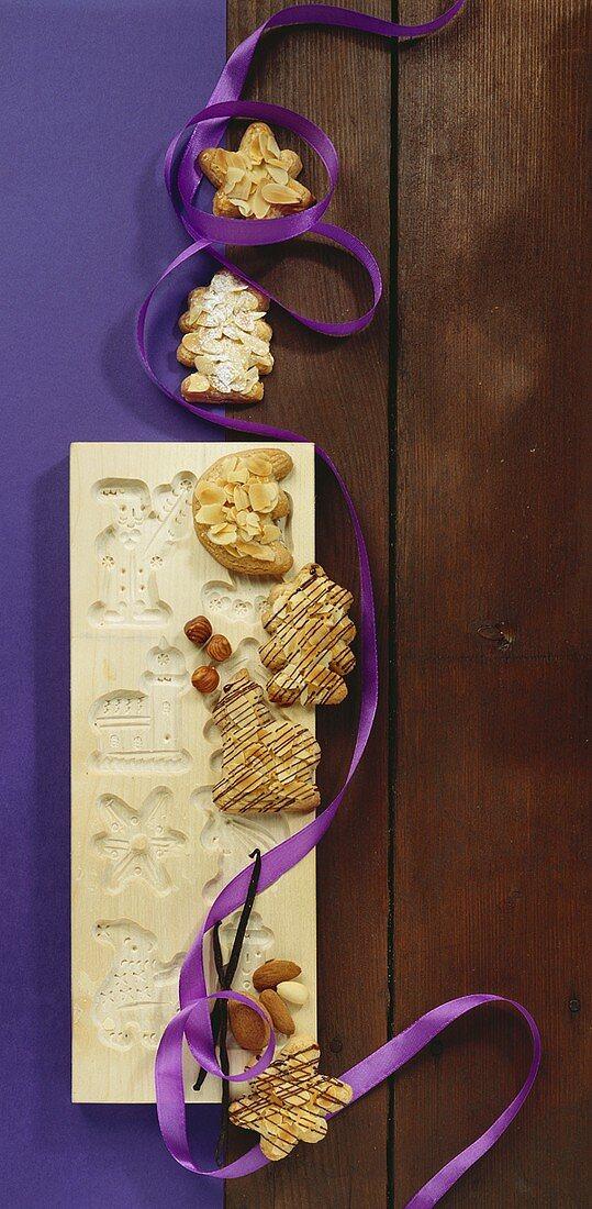 Almond spekulatius cookies with wooden mould