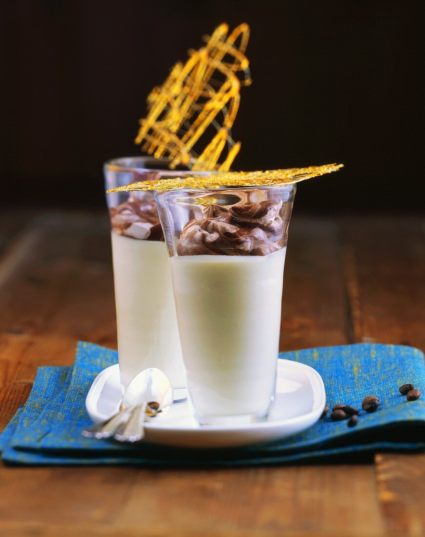 White coffee mousse with chocolate milk froth