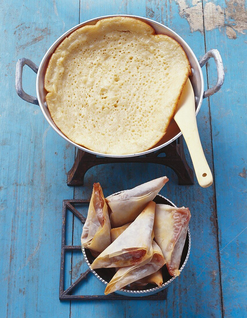 Fig briouats and beghrir (Moroccan pancake)