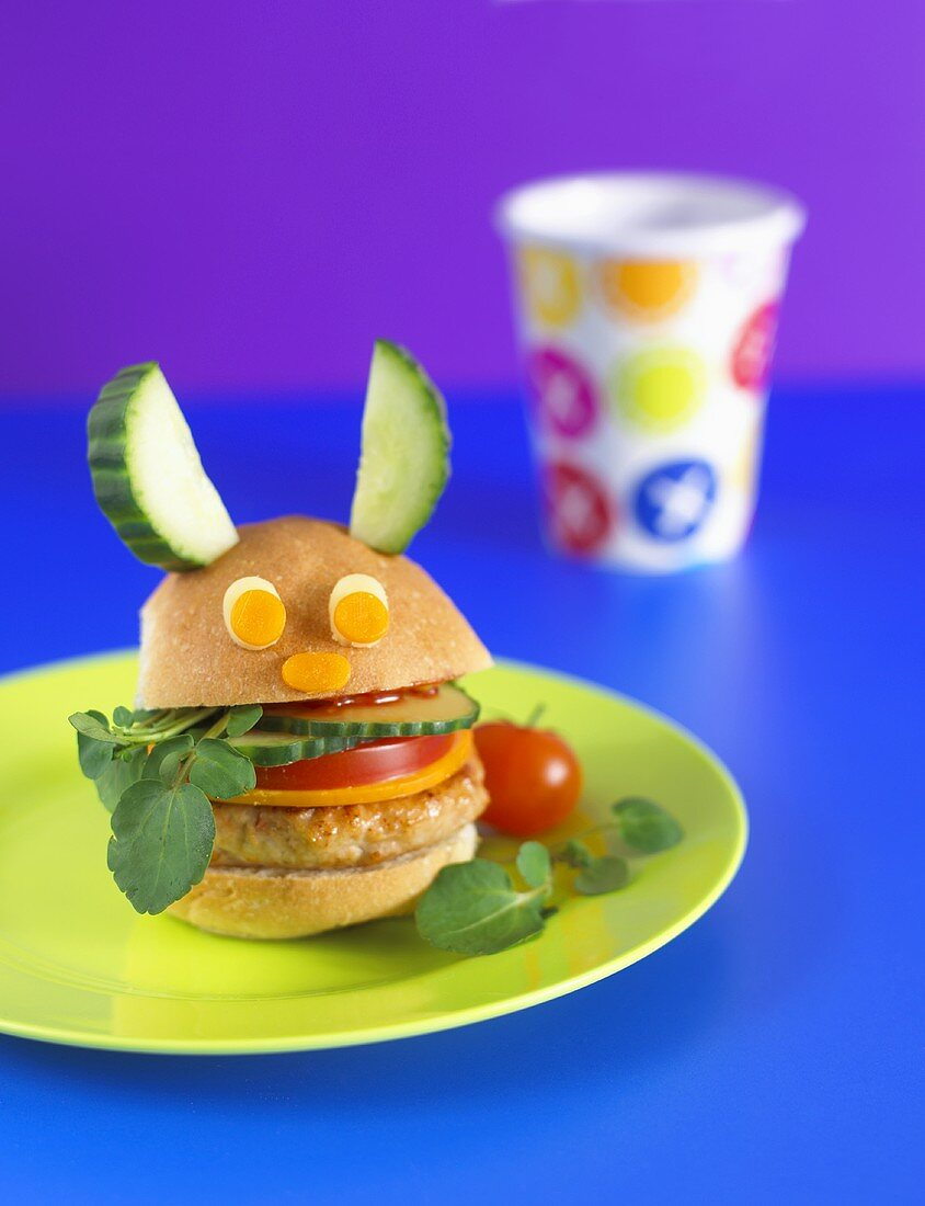 Chicken burger with vegetable face