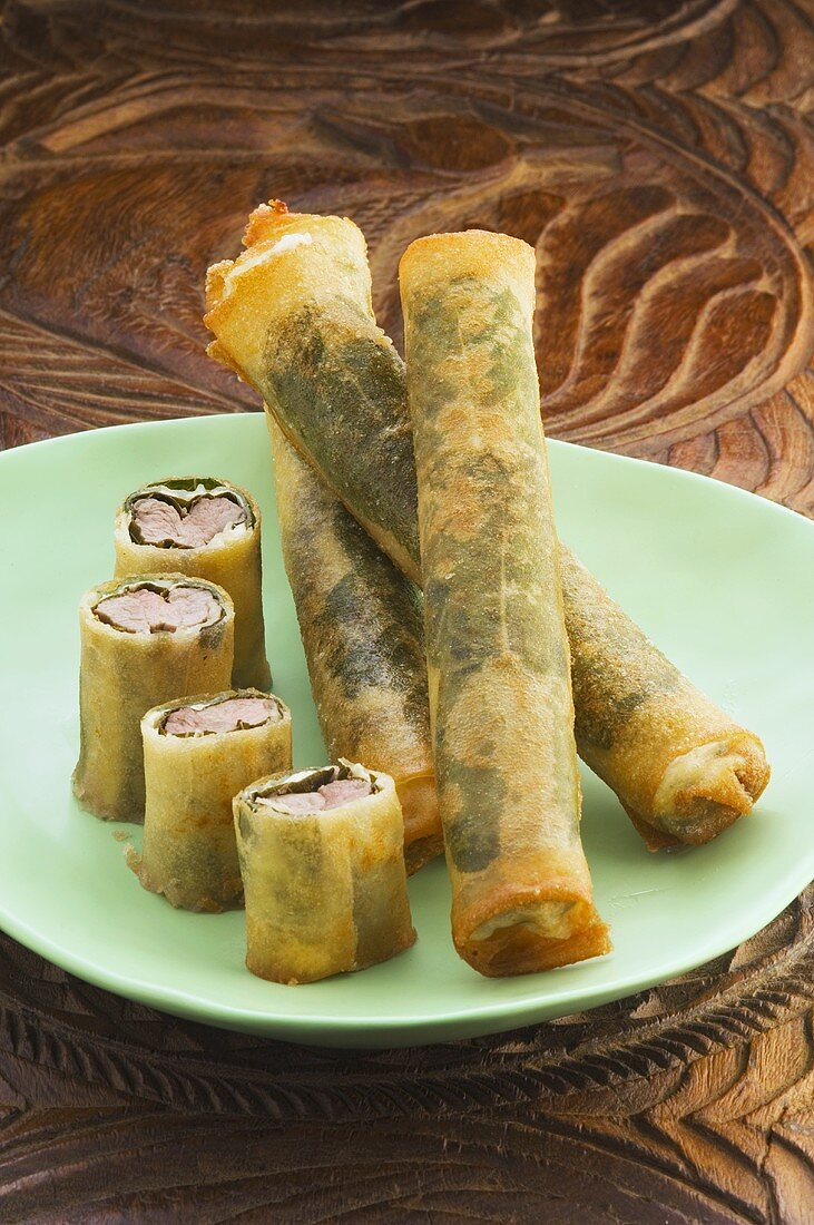 Spring rolls with lamb filling