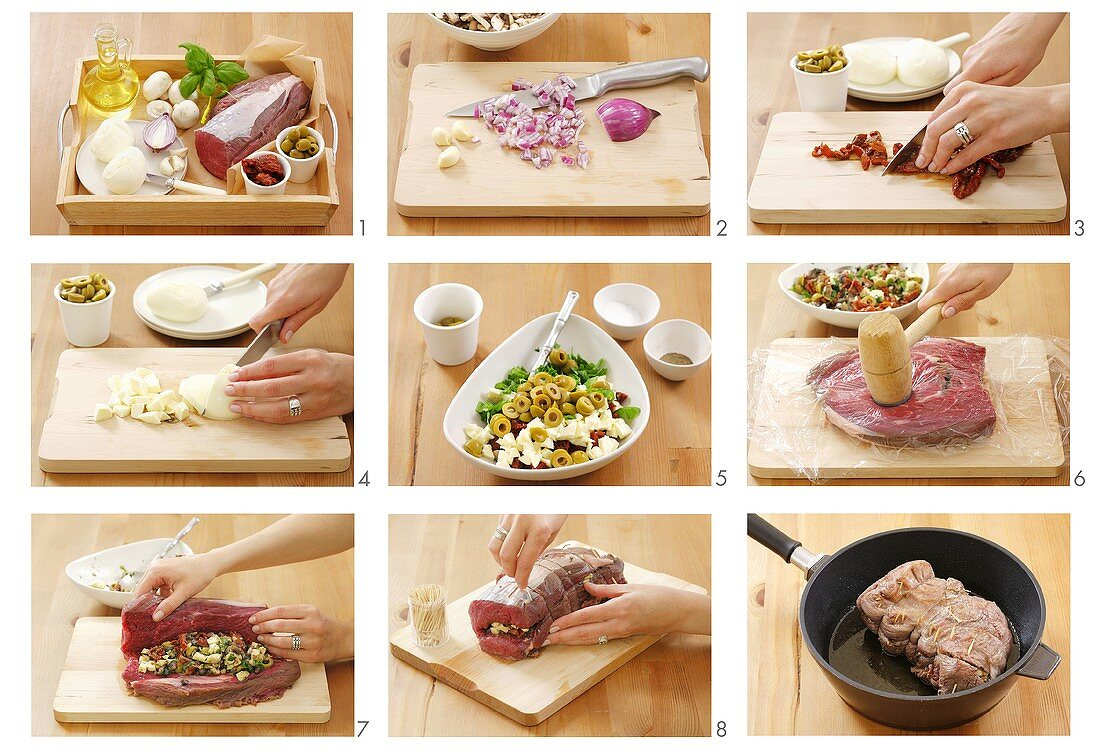 Preparing roast beef roll with mozzarella and olive stuffing