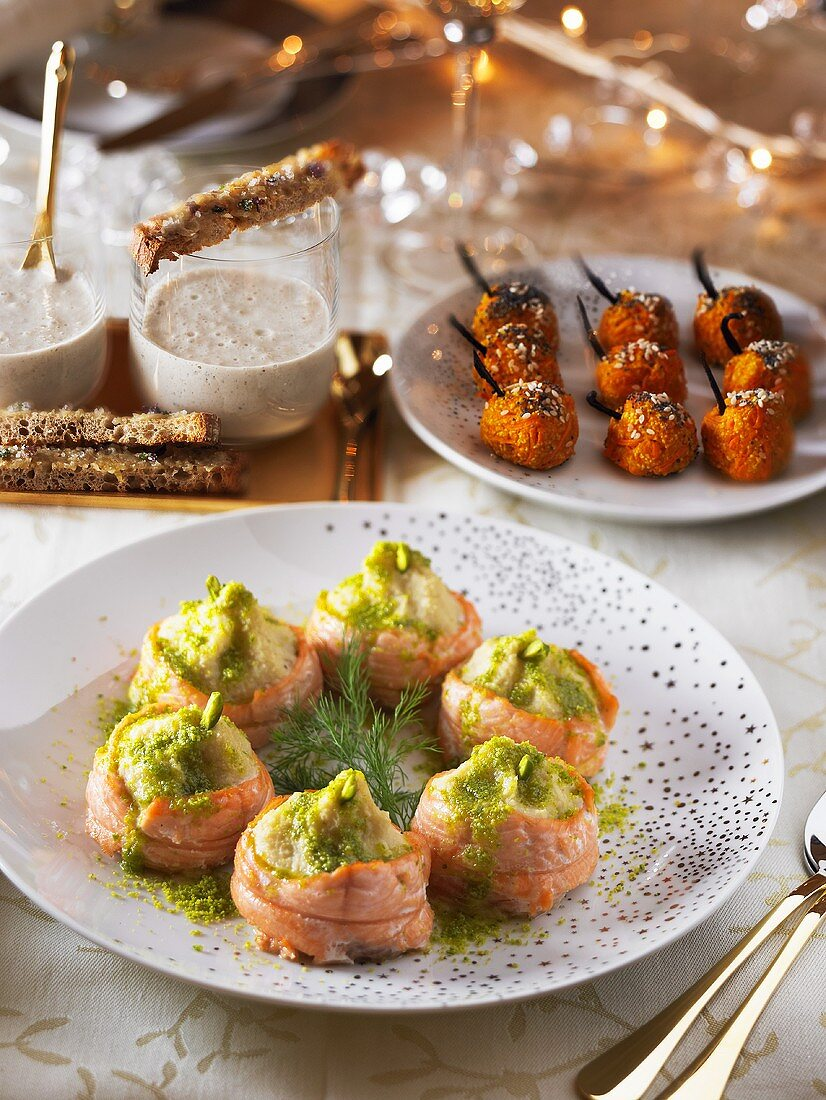 Appetisers for Christmas (carrot croquettes, salmon rolls)