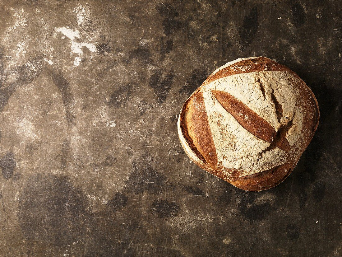 Tourte de meule (French bread) from above