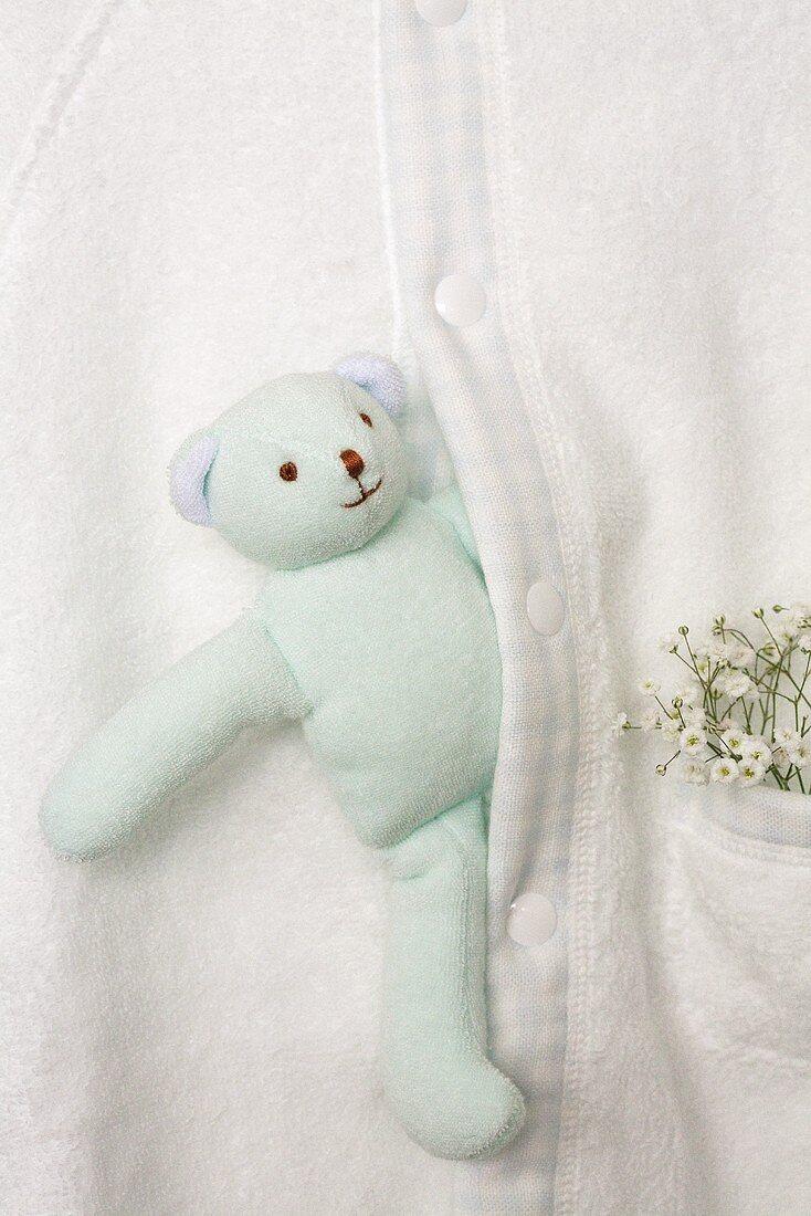 Baby bathrobe with teddy bear