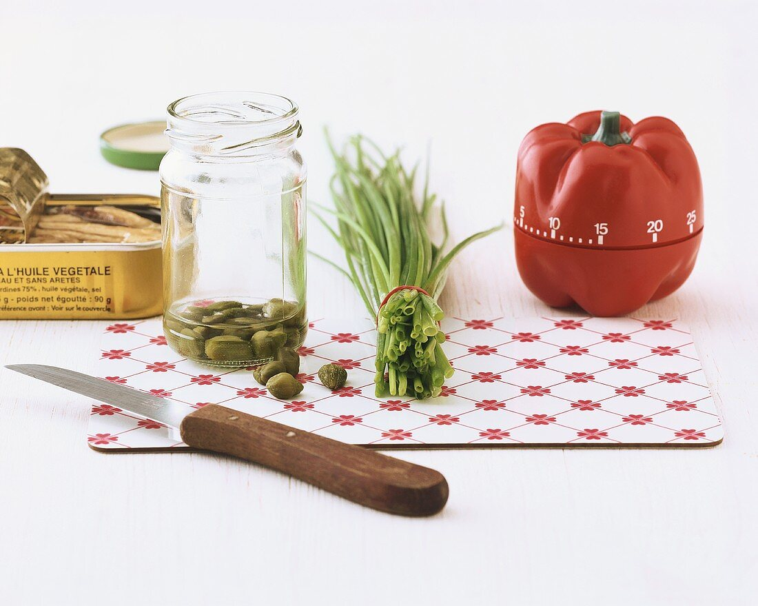 Capers, chives and kitchen timer