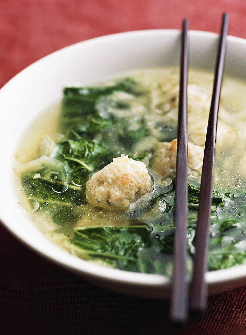 Canh cai (Pak choi soup with shrimp dumplings, Vietnam)