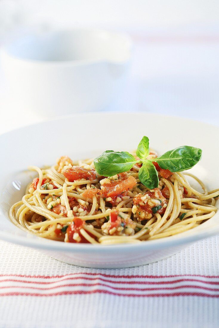 Spaghetti alla trapanese (with almonds, tomatoes and Parmesan)