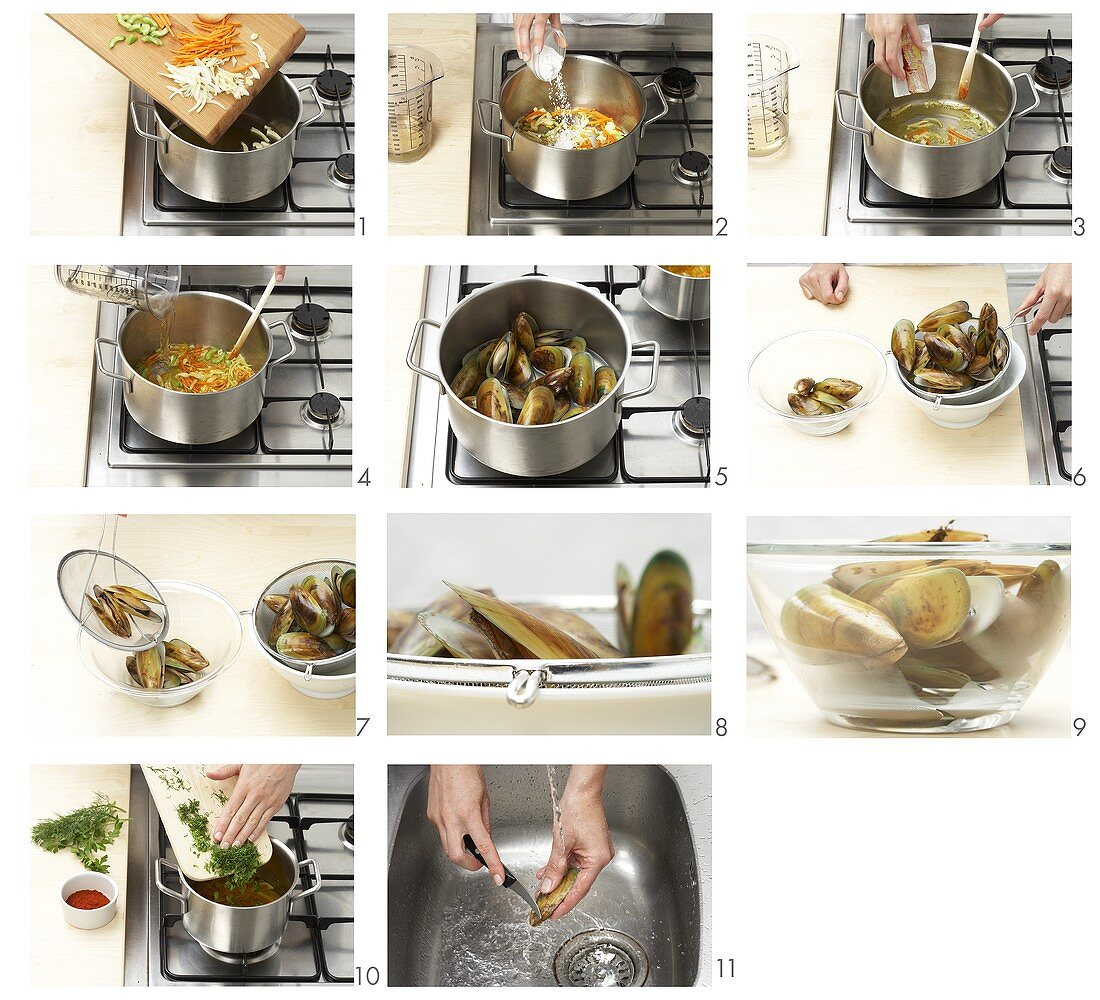 Preparing shellfish in vegetable stock