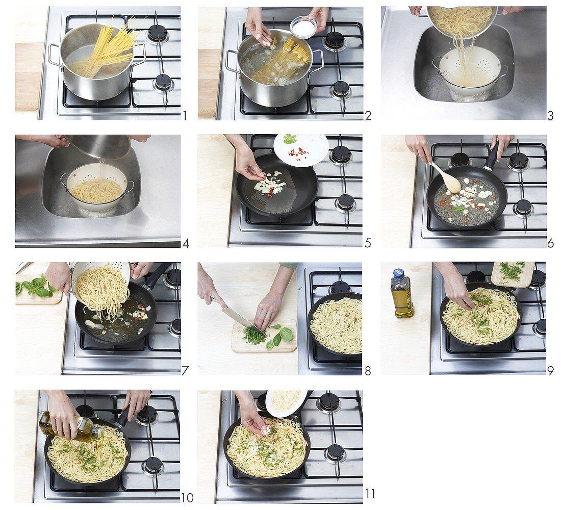 Making spaghetti aglio, olio e peperoncino