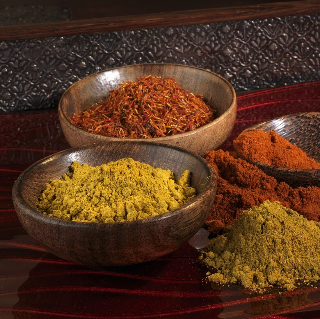 Safflower (saffron substitute), curry powder and paprika