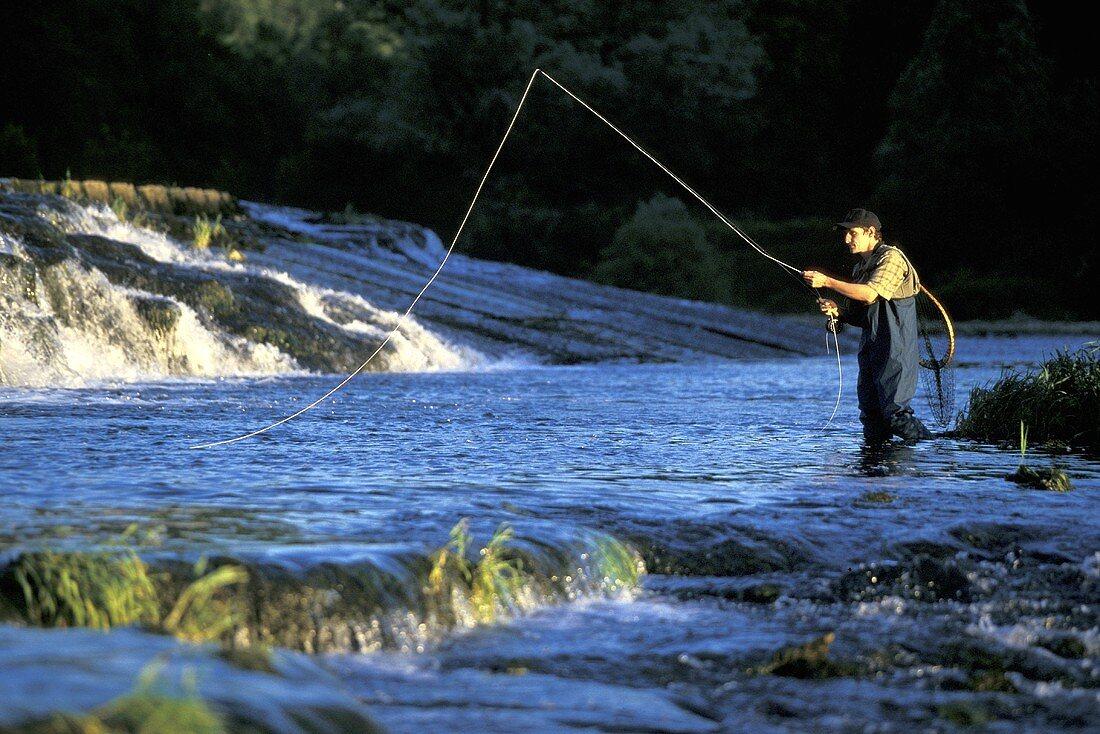 Mann beim Fiegenfischen im Gebirgsfluss