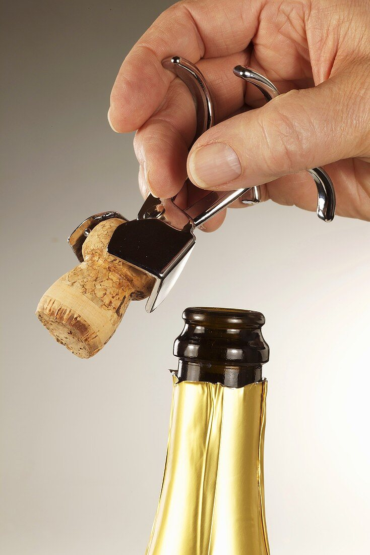 Opening bottle of sparkling wine with champagne tongs