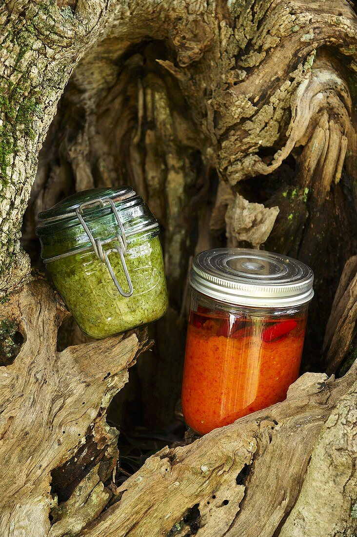 Red and green pesto in preserving jars