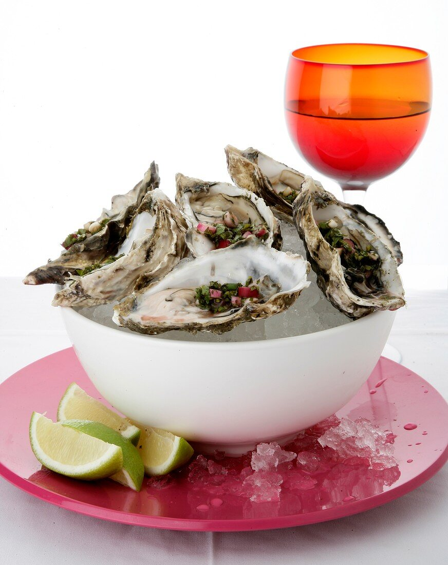 Oysters with red onion, balsamic vinegar and coriander