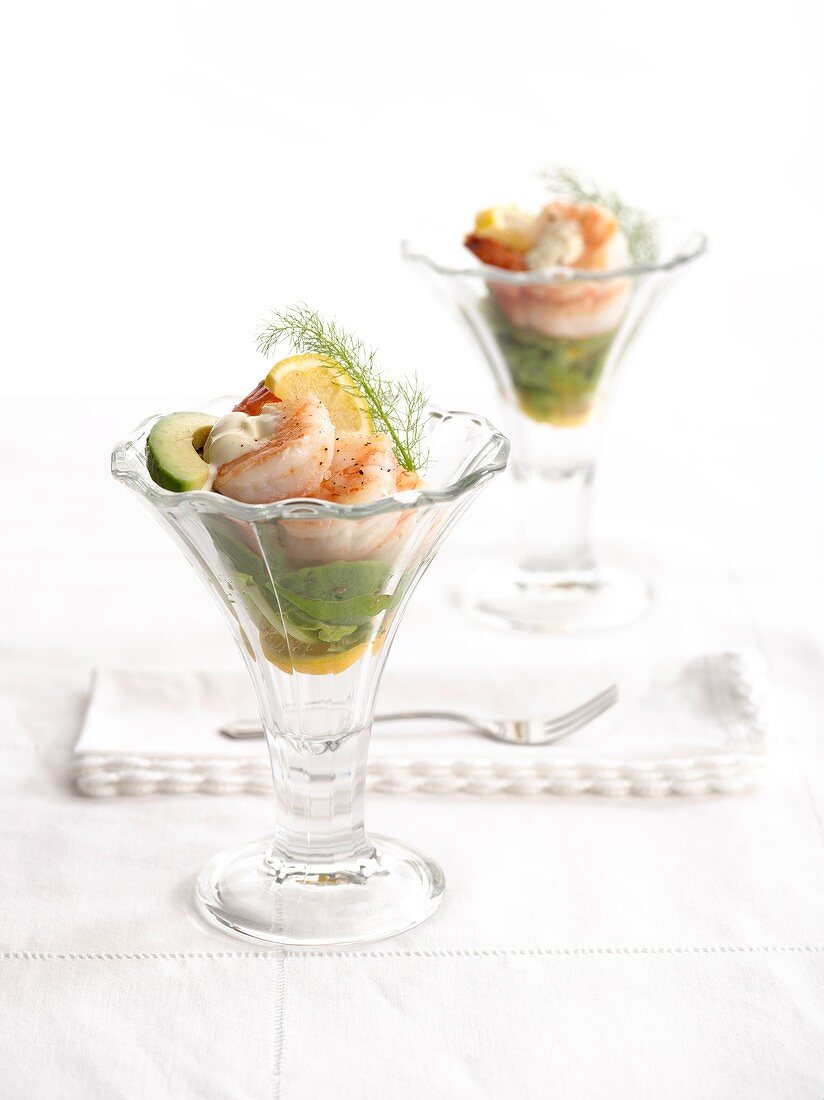Prawn and avocado cocktail with aioli