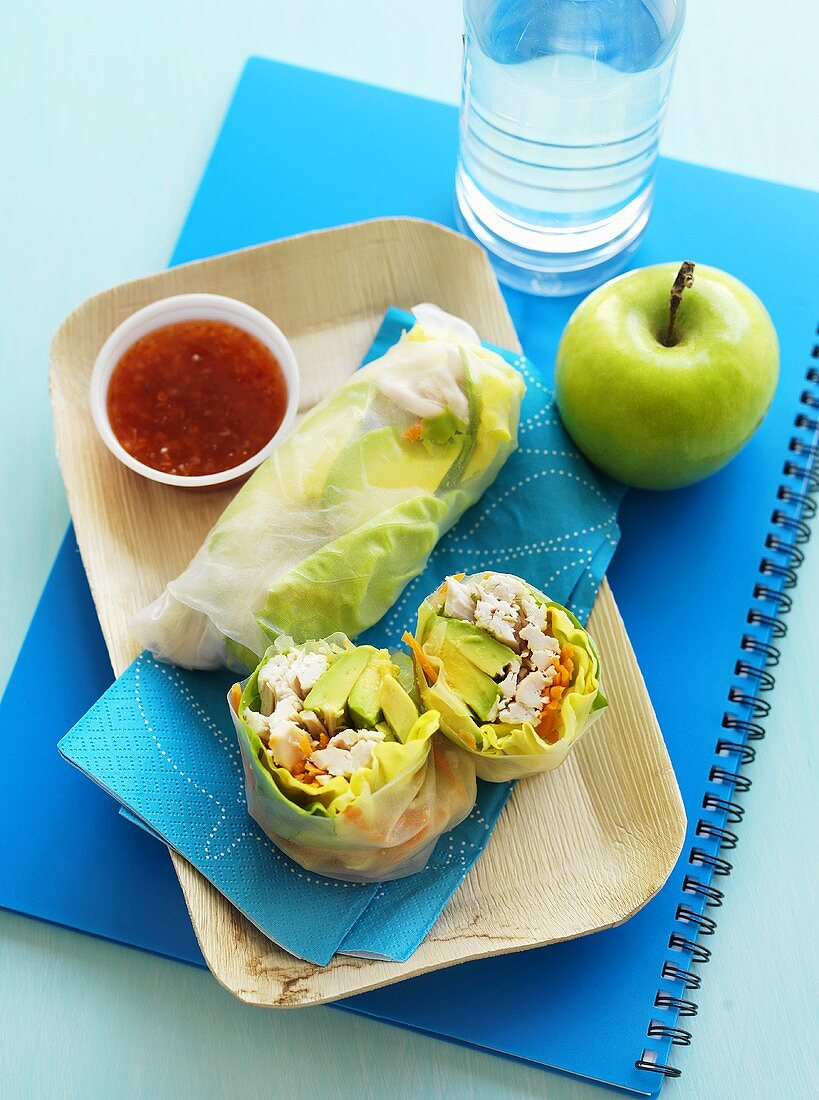 Rice paper rolls filled with chicken, chilli dip and apple for lunch