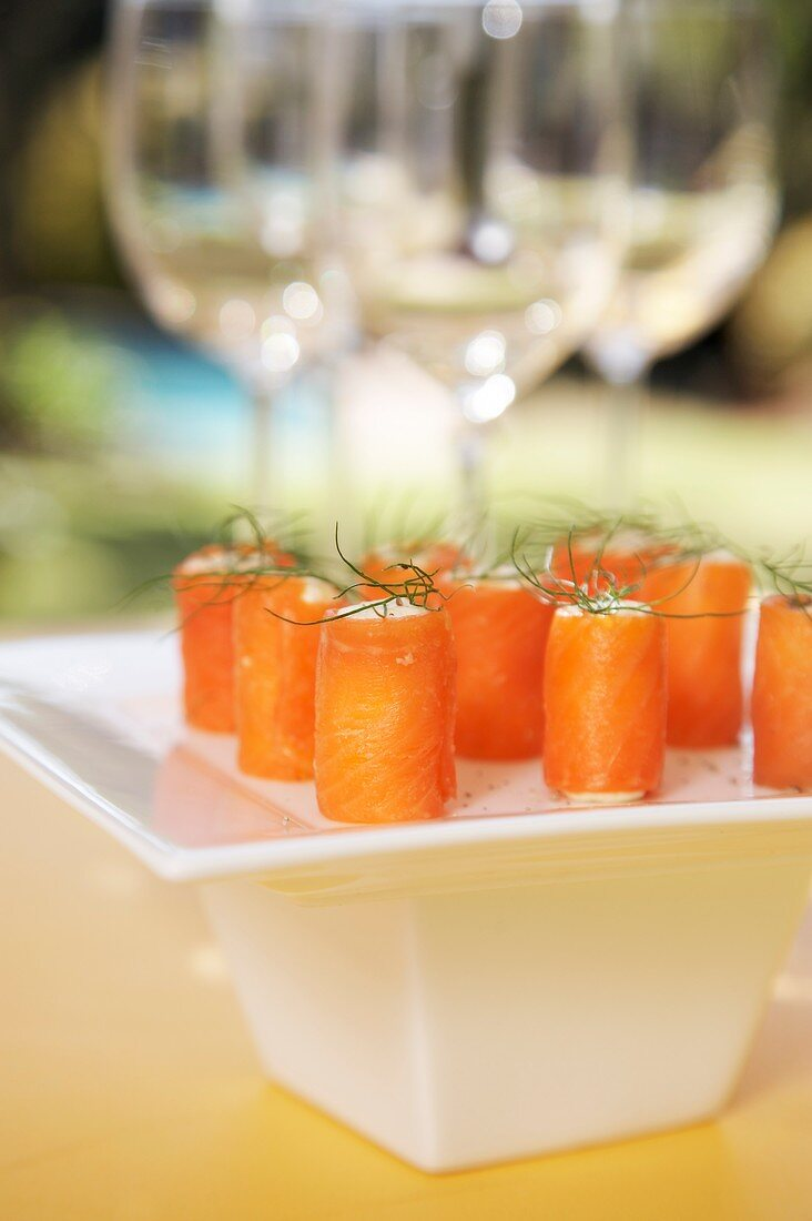 Salmon trout rolls with cream cheese filling