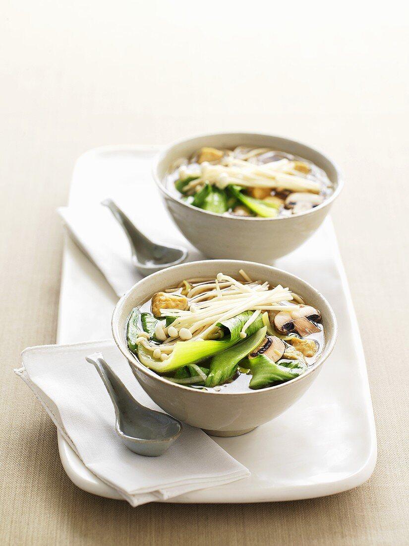 Mushroom and pak choi soup