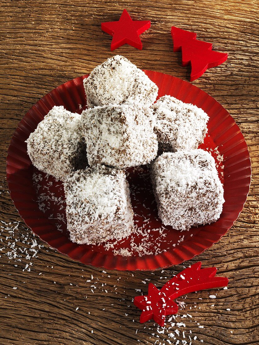 Coconut-coated gingerbread squares for Christmas
