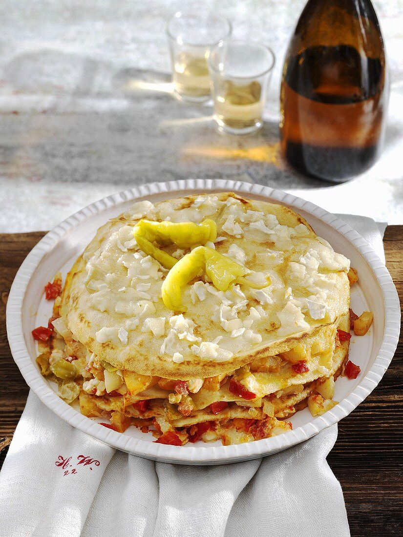 Pancake bake with apple, mince and peppers