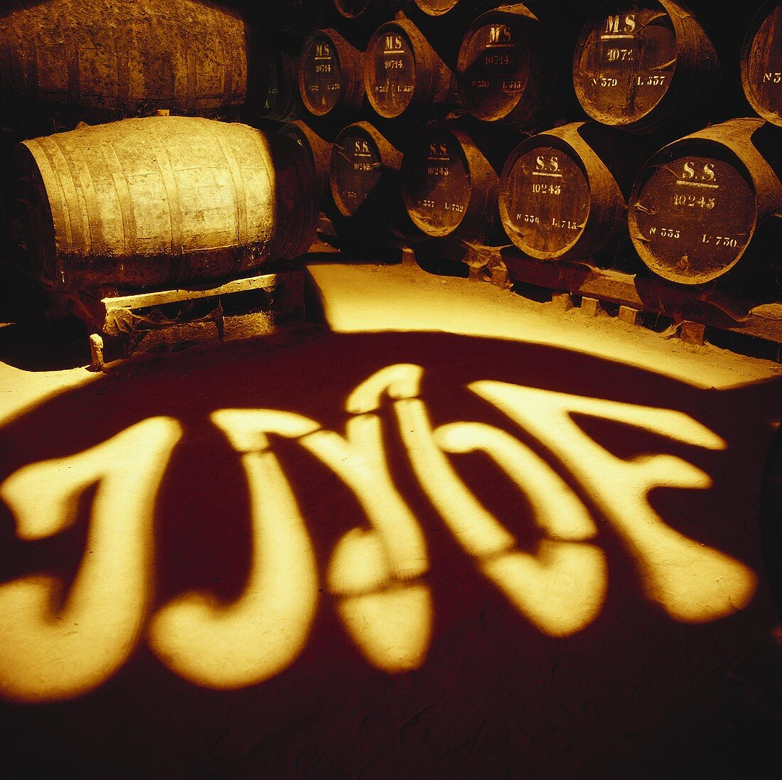 View into wine cellar of Jose-Maria da Fonseca, Azeitao, Portugal