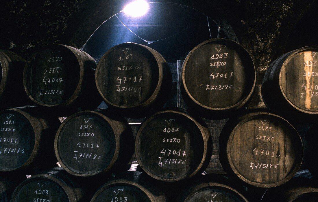 Port wine barrels in wine cellar of Ferreira Porto, Portugal