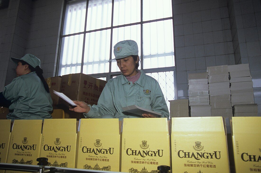 Packing wine, Chateau Changyu-Castel, Shandong, China