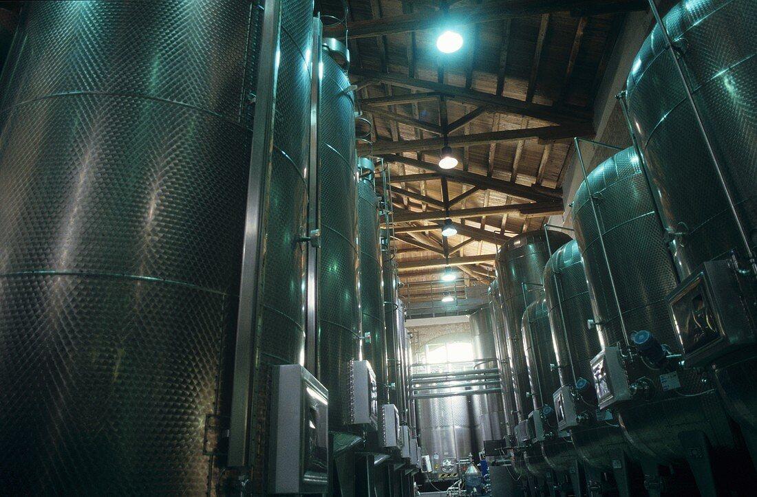 Stainless steel tanks, Braida Winery, Asti, Piedmont, Italy