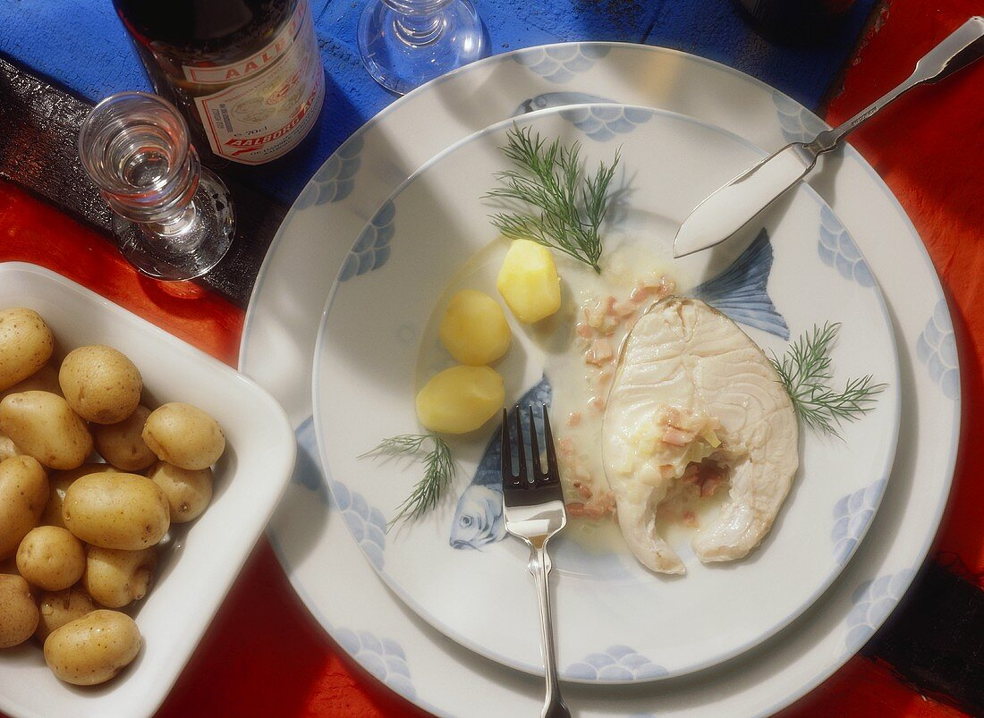 Cod with sweet-sour Bacon Sauce