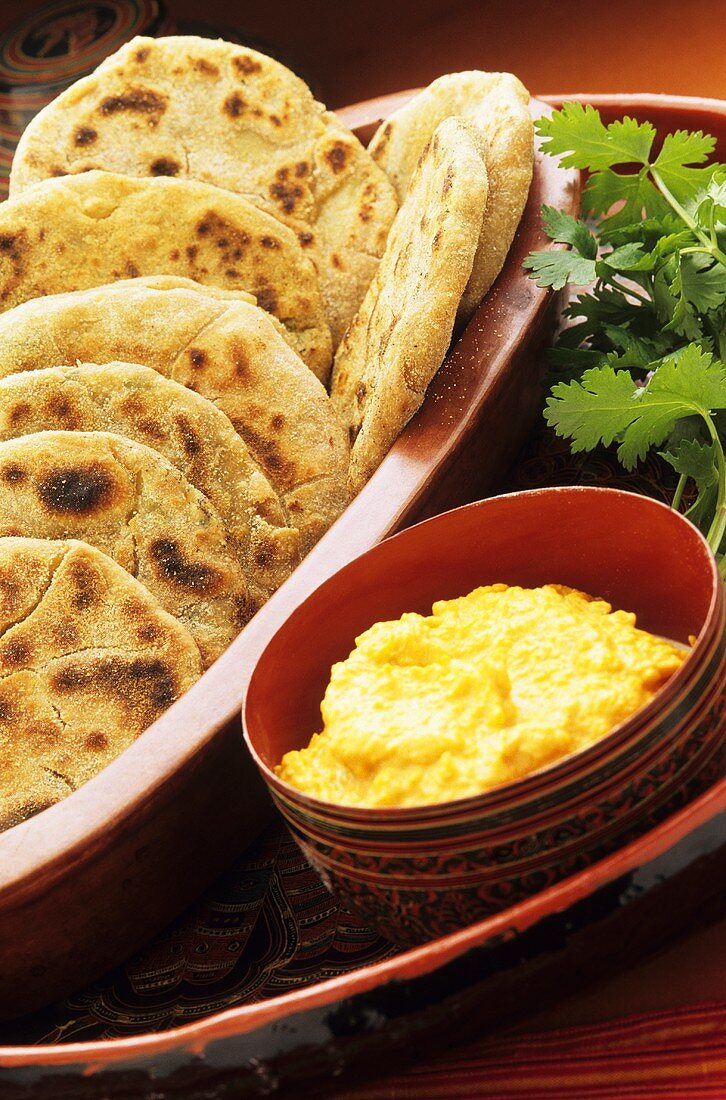 Pide (Turkish flatbread) with dip