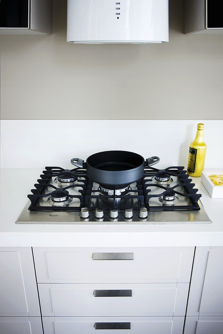 A gas hob in a kitchen