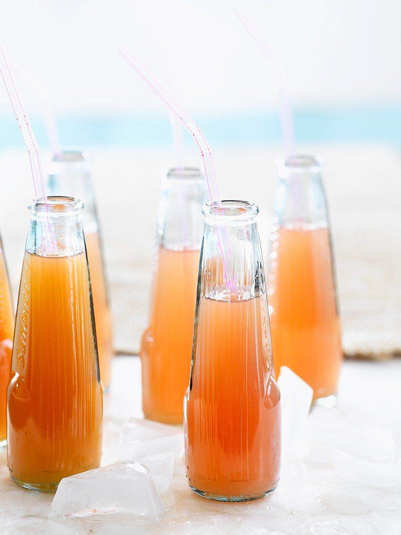 Fruit juice in bottles