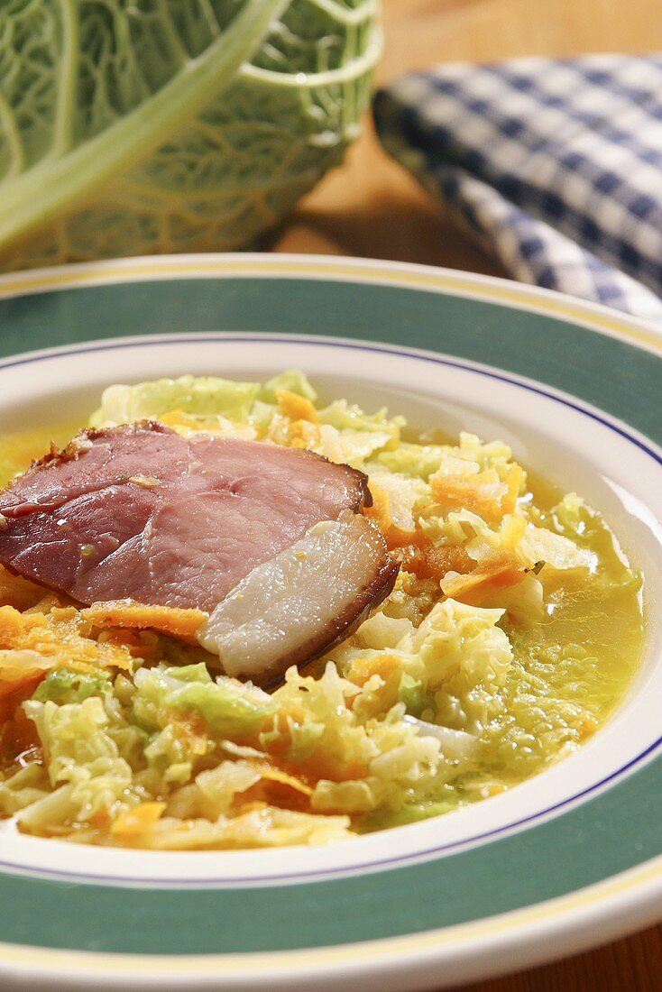 Cabbage soup with Kassler (cured pork)