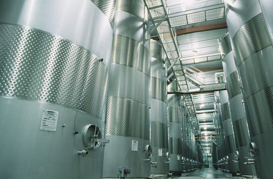 Steel tank cellar, Fetzer Vineyards, Mendocino, Calif. USA