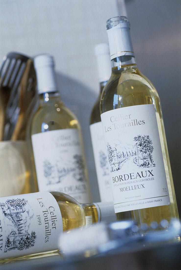 Bottles of white wine from Bordeaux