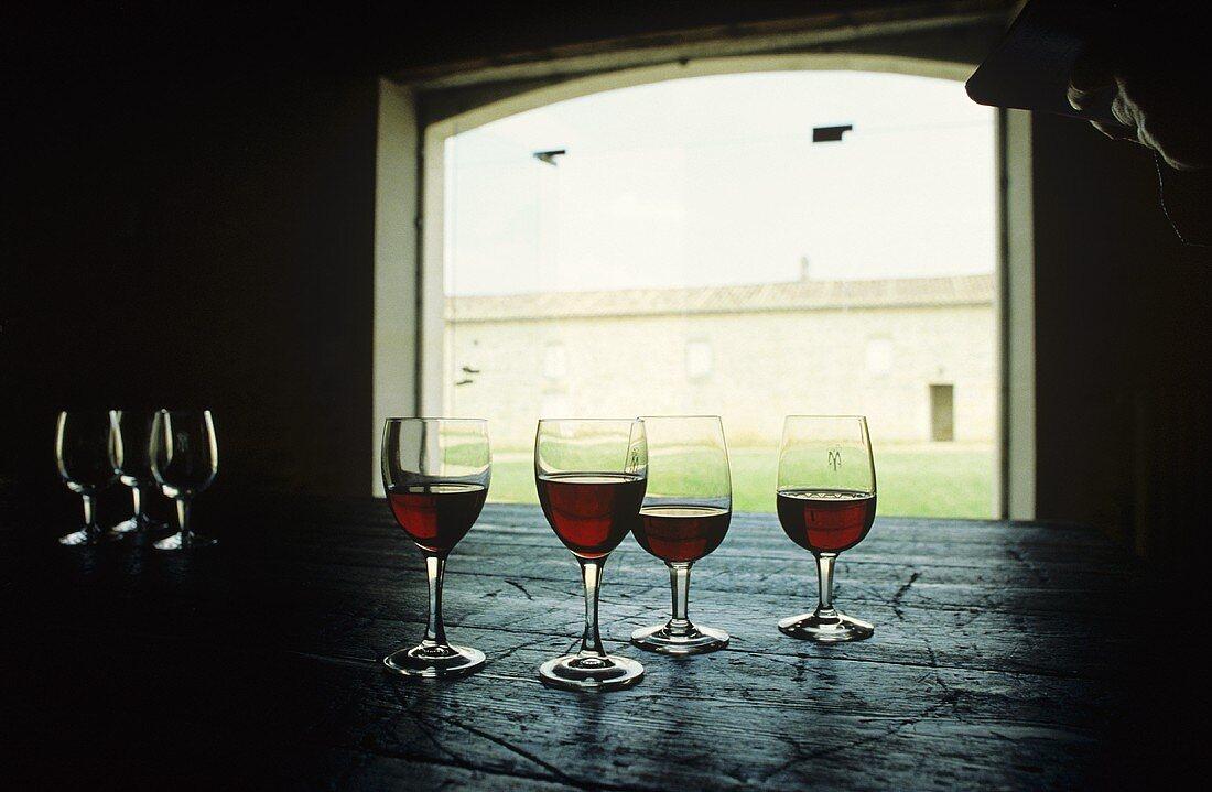 Still life with wine glasses, Cabernet Sauvignon, Bordeaux, FR