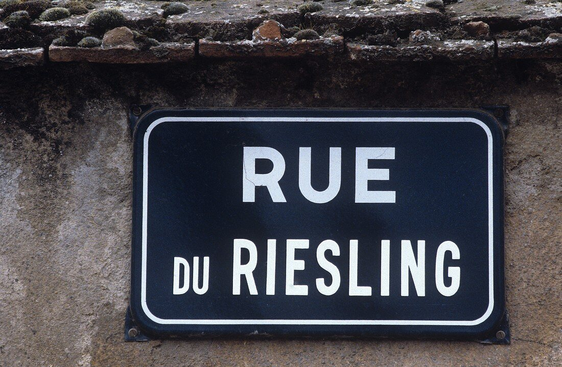 'Rue du Riesling' street sign, Eguisheim, Alsace, France