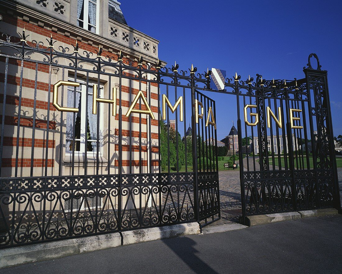Entrance to Champagne house Pommery, Reims, Champagne, France
