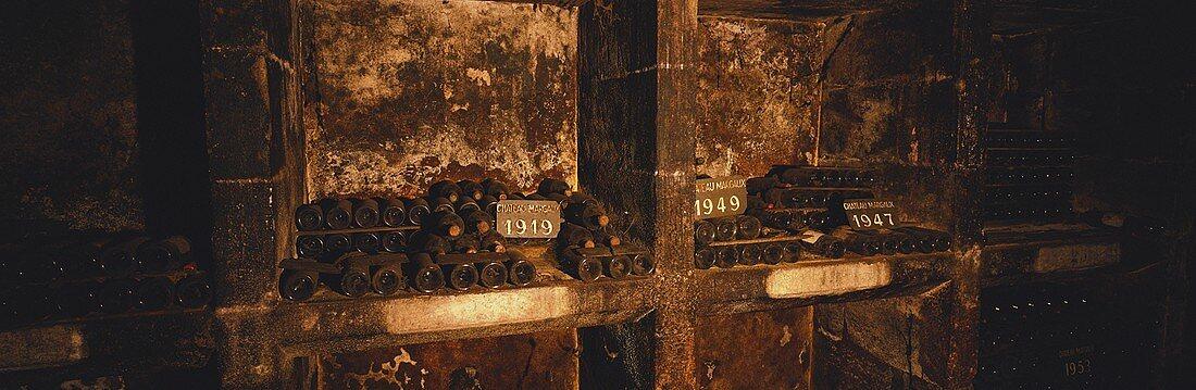 Old Bordeaux bottles, Château Margaux, Bordeaux, France