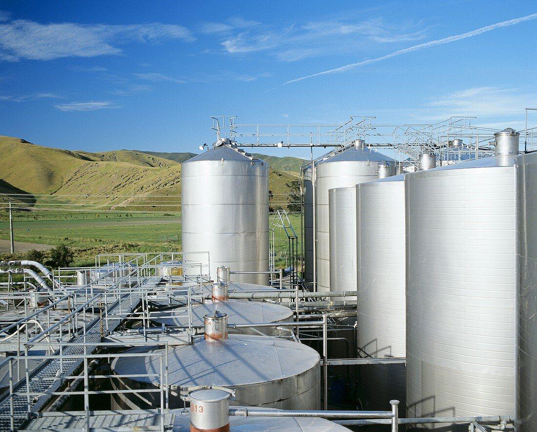 Stainless steel tanks, Montana Wines, Marlborough, N. Zealand