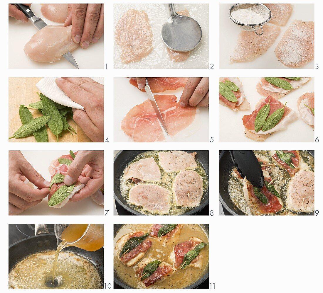 Chicken saltimbocca being prepared