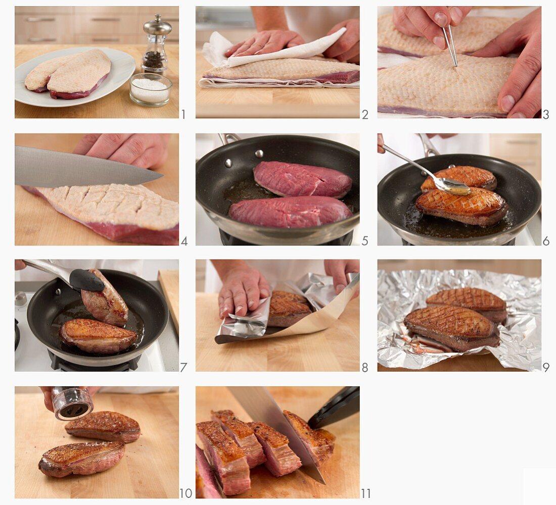 Fried duck being prepared