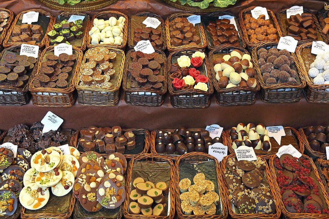 Chocolate and confectionary on a market stall (Mercat de St. Josep (Boqueria), Las Ramblas, Barcelona, Spain)