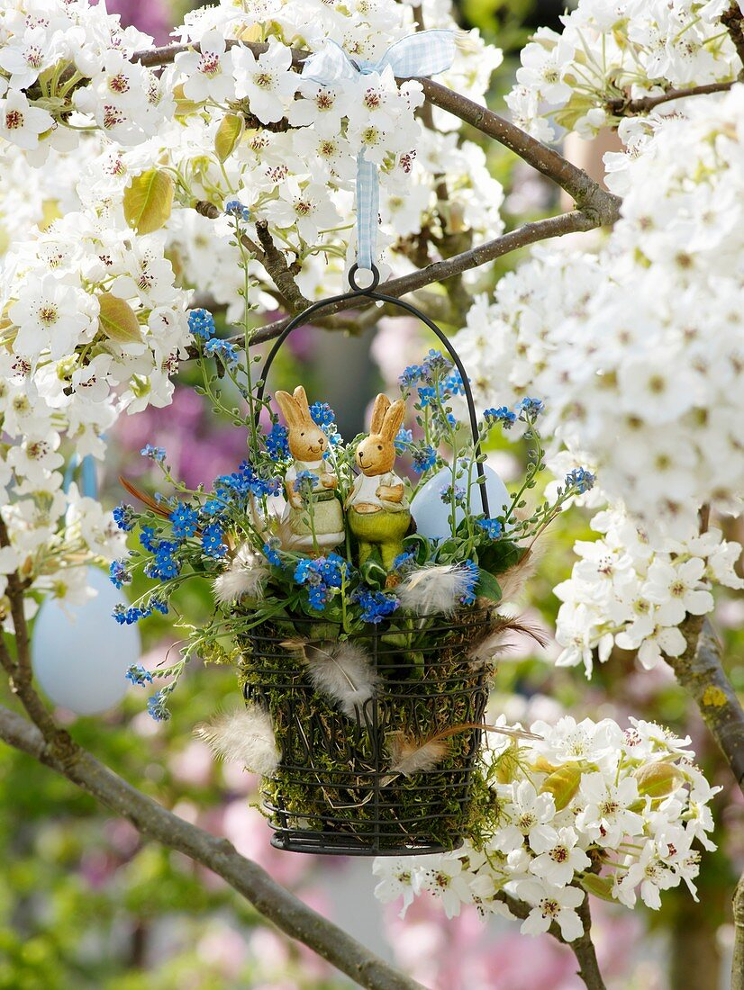 Small Easter basket hanging in pear tree