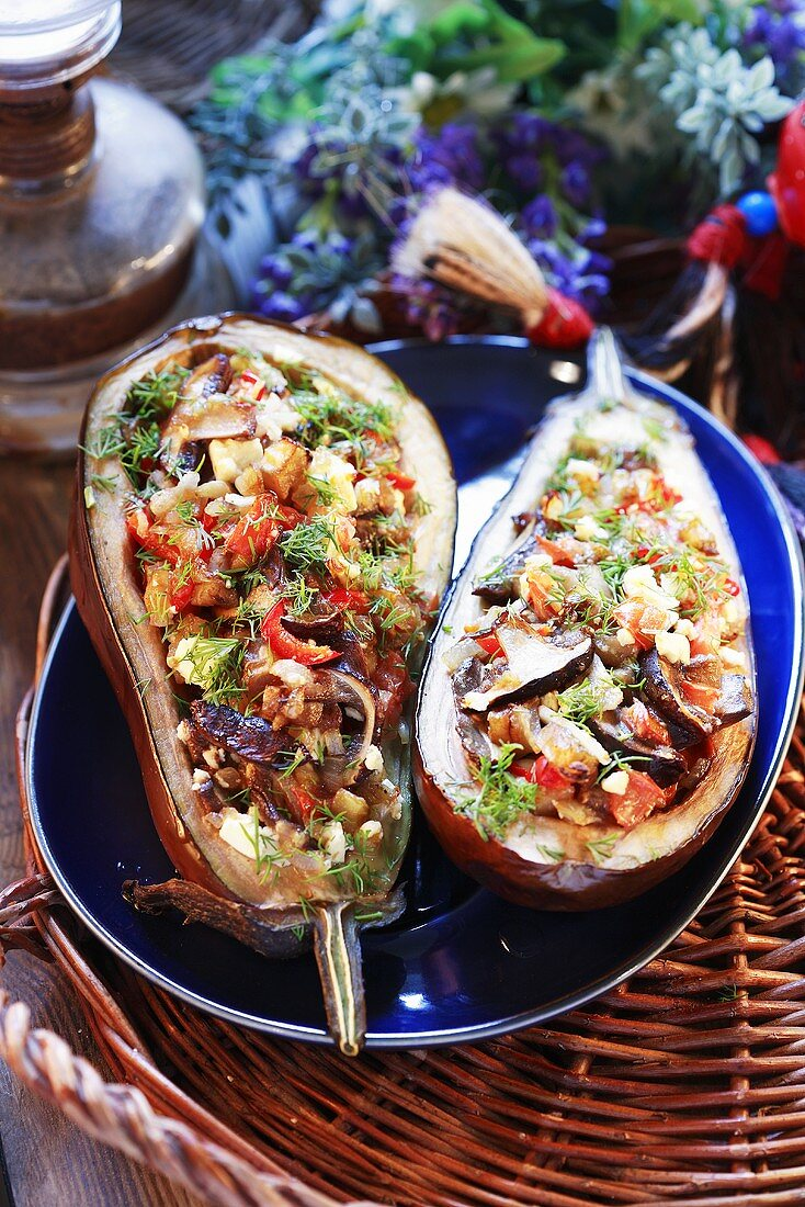 Aubergines with forest mushroom stuffing