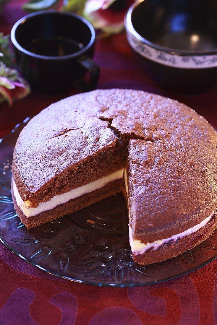 Chocolate cake with vanilla cream cheese filling
