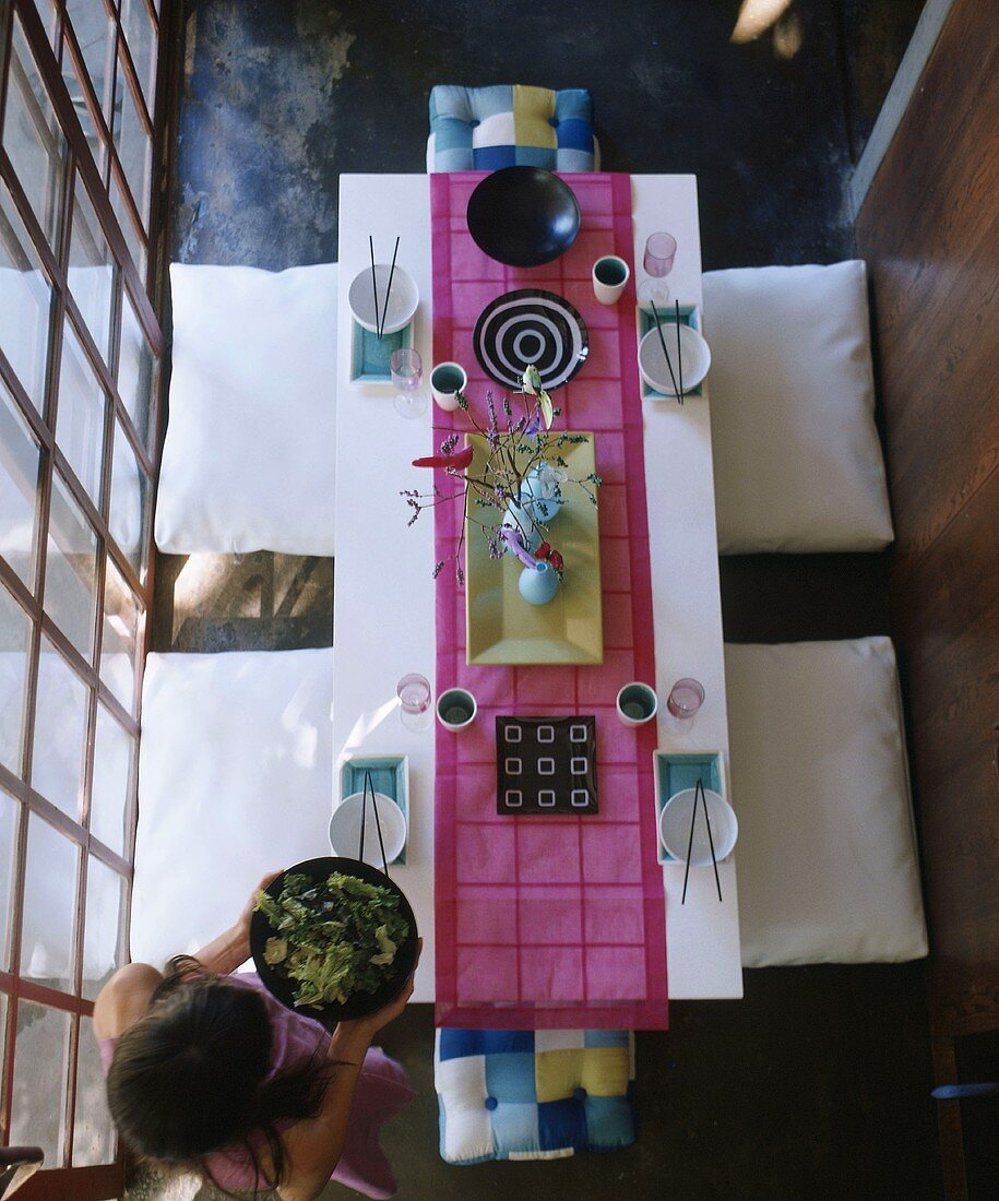 Top view down onto table set in Japanese style
