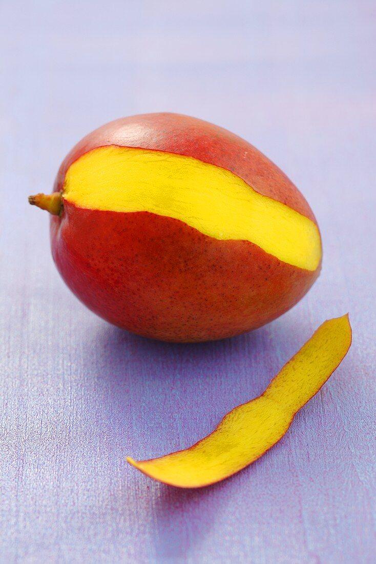 A mango, sliced